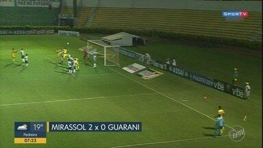Guarani perde e vaga no Troféu do Interior está cada vez mais longe - Bugre perdeu por 2 a 0 contra o Mirassol na noite desta segunda-feira (25).