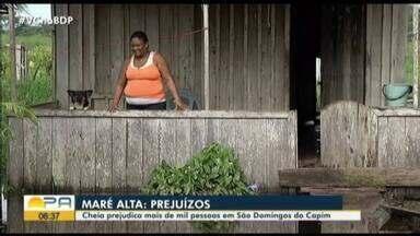 Passa de mil o número de afetados pelos alagamentos em São Domingos do Capim, no Pará - Alagamentos provocados pela maré alta também deixou desabrigados que continuam hospedados no Ginásio Municipal.