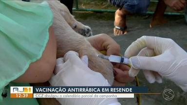 CCZ divulga calendário parcial da campanha de vacinação antirrábica em Resende - O cronograma está sujeito a modificações, de acordo com as necessidades.