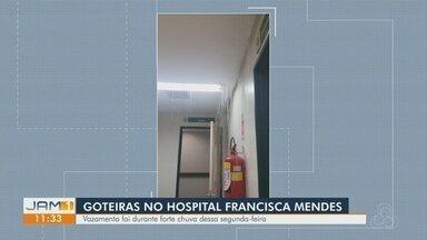 Goteiras alagam corredor do hospital Francisca Mendes, em Manaus - Vazamento ocorreu durante forte chuva.