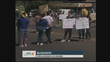 Rodovia SC-480 é bloqueada durante protesto de indígenas no Oeste de SC - Rodovia SC-480 é bloqueada durante protesto de indígenas no Oeste de SC