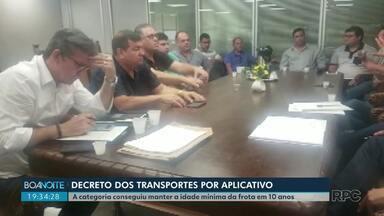 Prefeitura deve publicar decreto que regulamenta transporte por aplicativo em Londrina - A categoria conseguiu manter a idade mínima da frota em 10 anos.