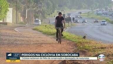 Perigos na ciclovia em Sorocaba - Ciclistas reclamam da falta de conservação e desrespeito de motoristas