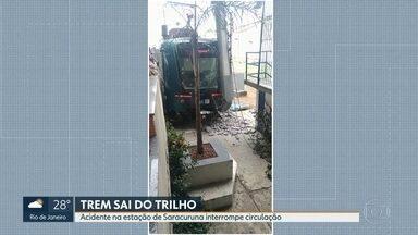 Trem sai dos trilhos em Saracuruna - Motorista diz que teve problemas com o freio e acabou batendo em poste.