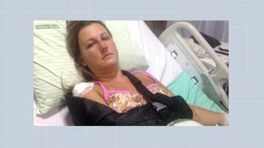 Mulher é agredida pelo ex-namorado na frente do filho - Priscila Lacerda Reis foi agredida num acostamento da Via Dutra pelo ex-namorado, Bruno dos Santos Teixeira, quando ele tentou uma reaproximação. Ela foi levada para a casa dele e espancada na frente do filho. Priscila foi hospitalizada.