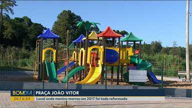 Em Cascavel, praça ganha nome de garoto que morreu no espaço - Praça João Vitor foi inaugurada neste fim de semana.