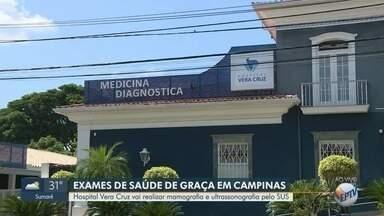 """Hospital Vera Cruz passa a oferecer mamografia e ultrassonografia pelo SUS, em Campinas - Programa """"Corujão da Saúde"""" é ocorre em parceria com Governo do Estado."""