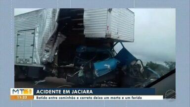 Acidente entre caminhão e carreta mata uma pessoa e deixa outra ferida na BR-364 - Acidente entre caminhão e carreta mata uma pessoa e deixa outra ferida na BR-364, em Tangará da Serra