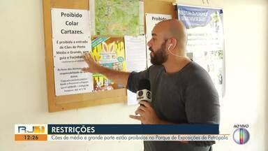 Cães de médio e grande porte estão proibidos no Parque de Exposições de Petrópolis - Assista a seguir.