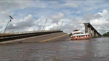 Balsa derruba parte de ponte no Pará e interrompe a ligação com nordeste do estado - Em janeiro, técnicos encontraram corrosão nos pilares e nas estacas de sustentação da ponte. Equipes dos Bombeiros e da Marinha fazem buscas na região por desaparecidos.