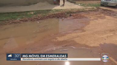 MG Móvel volta ao bairro Santa Cecília, em Esmeraldas - Em agosto de 2018 nós mostramos a falta de asfalto e o esgoto a céu aberto na rua Menino Jesus. Situação ainda permanece a mesma.