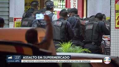 Dez pessoas vivem momentos de pânico na Asa Norte - Dois assaltantes invadiram um supermercado na 106 norte e fizeram reféns.