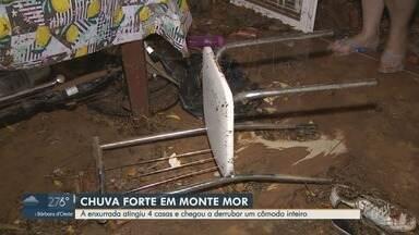 Enxurrada atinge quatro casas e gera prejuízo em Monte Mor - Cômodo de uma das residências foi derrubado com a força da água.