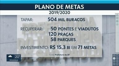 Prefeitura anuncia novo plano de metas para SP - Prefeito altera 28 metas da gestão de Doria e cria outras 25.