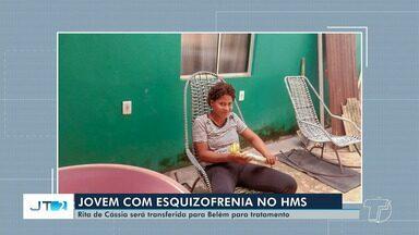 Jovem com esquizofrenia será transferida de Santarém para receber tratamento em Belém - Rita de Cássia, de 20 anos, teve vários surtos pelas ruas de Santarém e, atualmente, está internada no HMS.