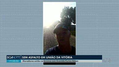 Moradores reclamam de avenida sem asfalto em União da Vitória - O local fica próximo de uma escola e um cmei.