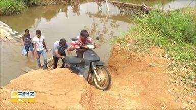 Rompimento de barragem em Machadinho D'oeste, deixa agricultores isolados - A empresa que opera na região já recuperou alguns acessos, mas cerca de 50 famílias continuam ilhadas