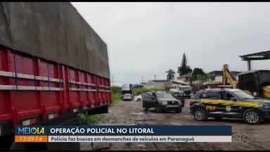Polícia faz buscas em desmanches de carros em Paranaguá - Operação foi hoje (9) cedo.