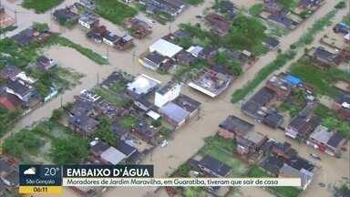 Moradores de Jardim Primavera, Guaratiba, estão ilhados após fortes chuvas - Moradores de Jardim Primavera, Guaratiba, estão ilhados após fortes chuvas.