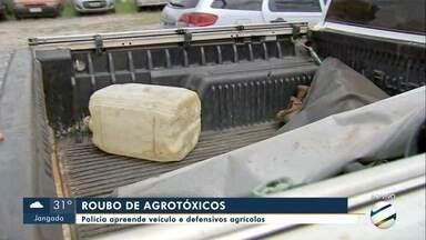 Polícia apreende veículos usado em roubo de defensivos agrícolas - Polícia apreende veículos usado em roubo de defensivos agrícolas.