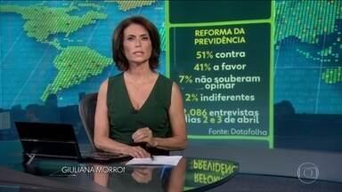 Datafolha aponta que 51% dos brasileiros são contra reforma da Previdência; 41% a favor - A pesquisa foi feita com 2.086 pessoas, nos dias 2 e 3 de abril.