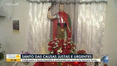 Devoção: festa de Santo Expedito é comemorada por fiéis - Celebração foi antecipada por conta da Semana Santa.