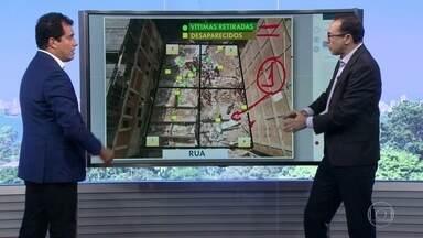 Bombeiros fazem mapa para identificar onde estariam desaparecidos em desabamento na Muzema - Homens do Corpo de Bombeiros utilizaram depoimentos de vizinhos e parentes e cães farejadores para identificar onde estariam os soterrados no desabamento dos prédios.