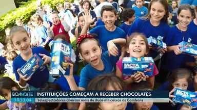 Telespectadores doaram mais de duas mil caixas de bombons para campanha Páscoa RPC - As entregas começaram nesta segunda-feira (15) e seguem até quarta (17) em dez instituições de Ponta Grossa.