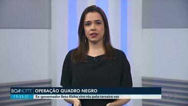 Ex-governador Beto Richa vira réu pela terceira vez - O ex-governador Beto Richa, do PSDB, virou réu em mais uma ação penal na operação quadro negro, que investiga desvios de dinheiro na construção e reforma de escolas estaduais