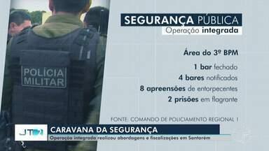 'Caravana da Segurança' realiza apreensão de veículos, fecha bares e faz prisões - Operação é uma ação em conjunto de vários órgãos e instituições de Santarém.