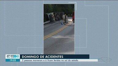 Duas pessoas morreram e 6 ficam feridas em acidentes no Sul do ES - Fim de semana foi marcado por acidentes.