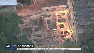 Bombeiros trabalham para encontrar desaparecidos - Subiu para a 20 o número de mortos encontrados na tragédia na Muzema.