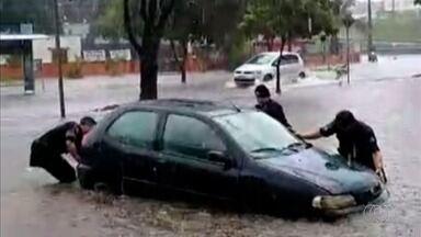 Chuva alaga ruas e derruba árvores em Goiânia - Veja dificuldades enfrentadas pelos moradores na capital por causa do temporal.