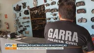 Polícia Civil e Detran lacram cinco autopeças na região de Campinas - Elas não tinham autorização para funcionar e nem os lacres das peças comercializadas.
