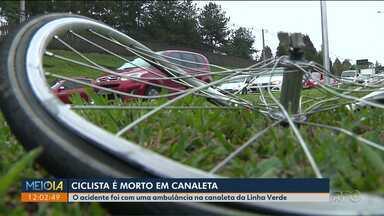 Ciclista é morto em canaleta, na região de Curitiba - O acidente foi com uma ambulância, na canaleta do ônibus, na Linha Verde.