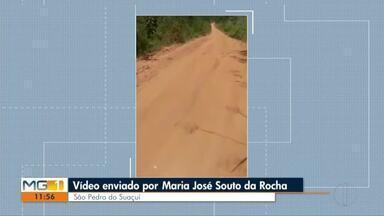 VC no MG: moradora do São Pedro do Suaçuí reclama de estrada esburacada - DR não retornou reclamação até o momento.