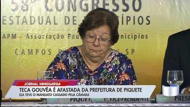 Justiça derruba liminar e prefeita Teca Gouvêa é afastada do cargo Piquete - Mandato dela foi cassado em 2018 pela câmara, por abandono de prédio públicos, mas Teca seguia no cargo.