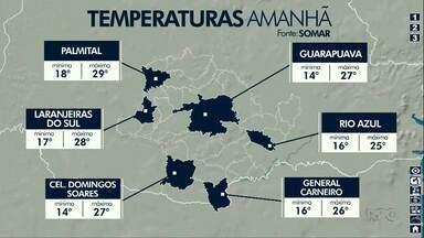 Quarta-feira será de pancadas de chuvas na região de Guarapuava - As temperaturas podem ficar próximas dos 30 graus.
