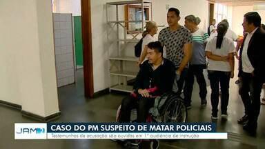 PM suspeito de matar dois homens passa por primeira audiência de instrução, em Manaus - Caso aconteceu em janeiro deste ano.