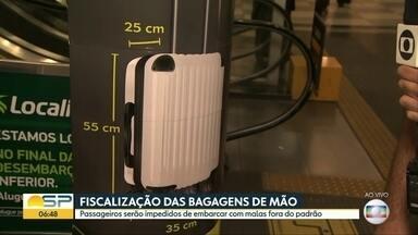 Empresas aéreas começam campanha pra que passageiros respeitem tamanho das bagagens de mão - Associação Brasileira das Empresas Aéreas quer conscientizar passageiros.