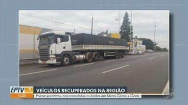 Polícia encontra dois caminhões roubados em Minas Gerais e Goiás - Os dois homens que dirigiam os veículos acabaram presos.