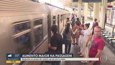 Reajustes da passagem do metrô de BH devem começar no próximo mês - Em maio, a tarifa vai passar de R$ 1,80 para RS 2,40. Até março do ano que vem, a passagem deve chegar a R$ 4,25