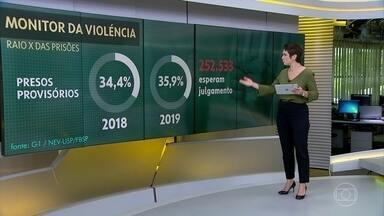 Monitor da violência G1: superlotação de presídios aumenta no Brasil - As prisões estão quase 70% acima da capacidade e faltam mais de 288 mil vagas.
