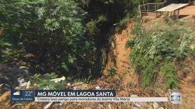 MG Móvel visita bairro Vila Maria, em Lagoa Santa - Moradores estão preocupados com uma cratera que sobrou depois que um córrego secou. Algumas casas já estão tendo rachaduras.