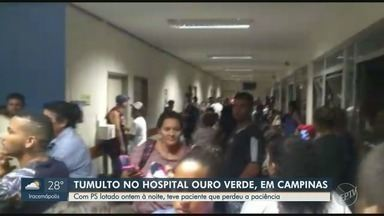 Pacientes perdem a paciência e geram tumulto no Hospital Ouro Verde, em Campinas - Imagens enviadas à EPTV mostram mulher irritada com o atendimento no centro médico.