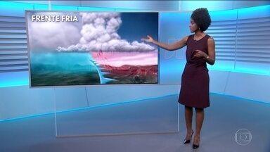Confira os destaques da previsão do tempo - Frente fria avança em direção ao Sudeste.