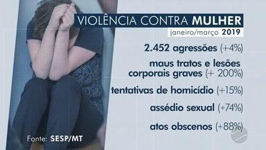 Registros de agressão contra a mulher aumentaram de janeiro a março em MT - Registros de agressão contra a mulher aumentaram de janeiro a março em MT.