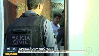 Polícia prende presidente da Câmara de Vereadores de Nilópolis - Presidente da Câmara de vereadores de Nilópolis, Jorge Henrique da Costa Nunes é um dos alvos da operação da Polícia Civil. O suspeito é acusado de chefiar uma organização criminosa.