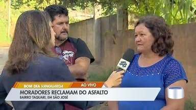 Moradores reclamam do asfalto no bairro Taquari em São José - Situação no bairro é precária.
