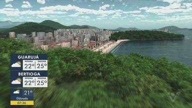 Confira a previsão do tempo para esta quinta-feira (9) - Alerta da Marinha sobre a previsão de ressaca e de mar agitado permanece vigente.